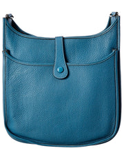 Pre-Owned Hermes Blue Clemence Leather Evelyne Ii Gm