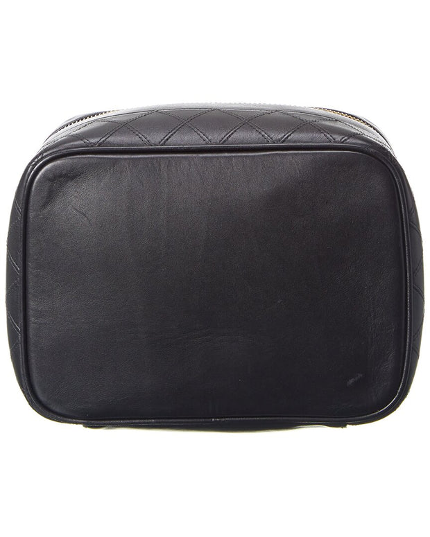 Pre-Owned Chanel Black Lambskin Leather Vanity