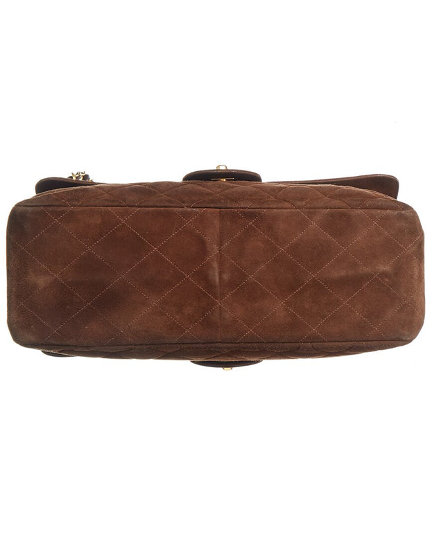 Pre-Owned Chanel Brown Quilted Suede Jumbo Double Flap Bag