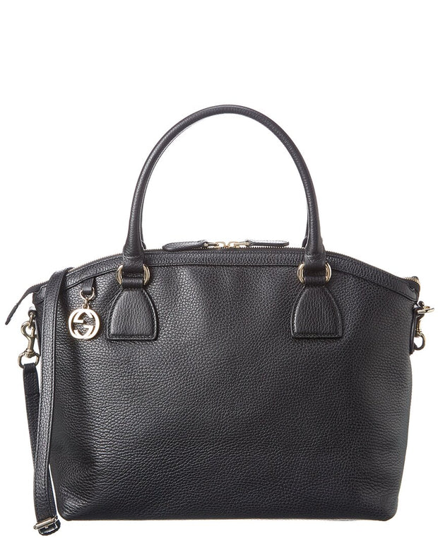 Pre-Owned Gucci Black Grained Leather Interlocking Tote