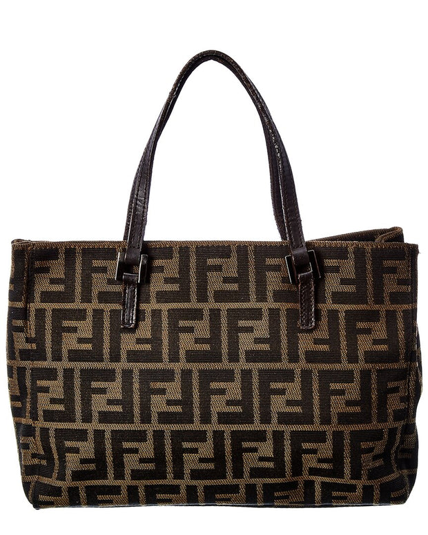 Pre-Owned Fendi Brown Zucca-Print Canvas Tote