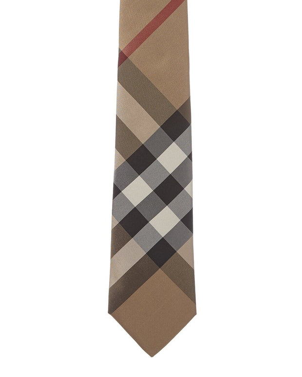 Burberry Camel Modern Cut Check Silk Tie