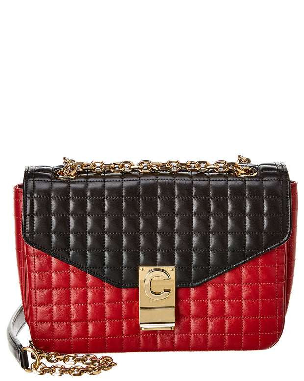 Celine Medium C Bicolour Quilted Leather Shoulder Bag