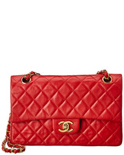 Pre-Owned Chanel Red Quilted Lambskin Leather Small Double Flap Bag