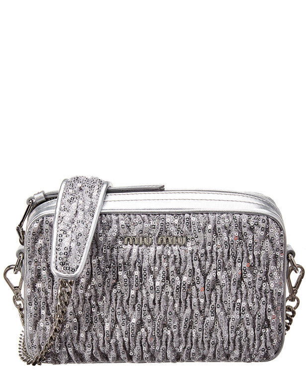 Miu Miu Paillettes Matelasse Sequin Leather Shoulder Bag