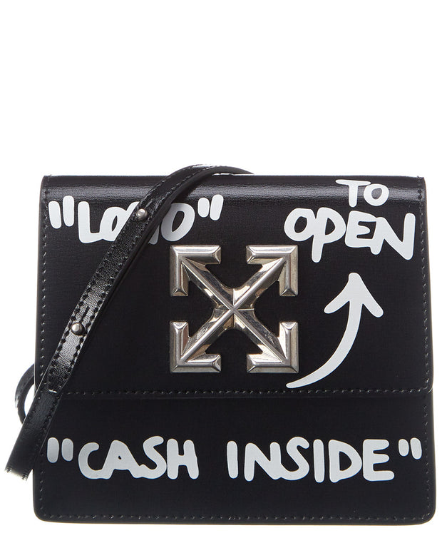 Off-White Jitney 0.7 Cash Inside Leather Shoulder Bag