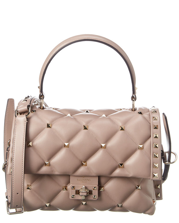 Valentino Candystud Quilted Leather Top Handle Shoulder Bag