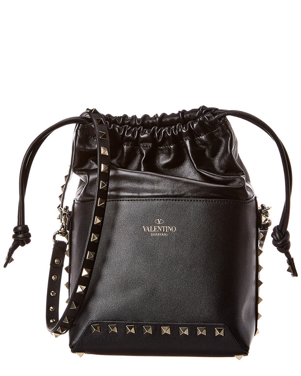 Valentino Rockstud Mini Leather Bucket Bag