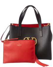 Valentino E/W V-Ring Leather Shopper Tote