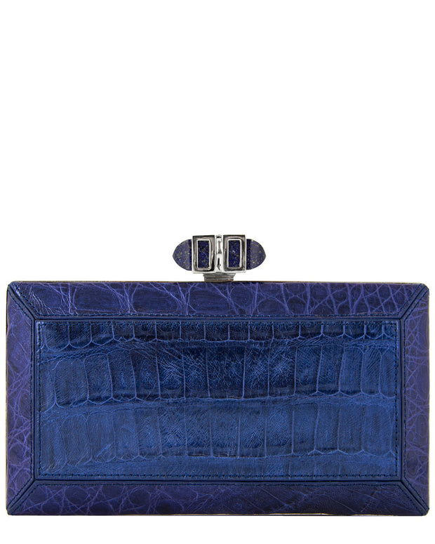 Judith Leiber E/W Coffered Rectangle Crocodile Clutch