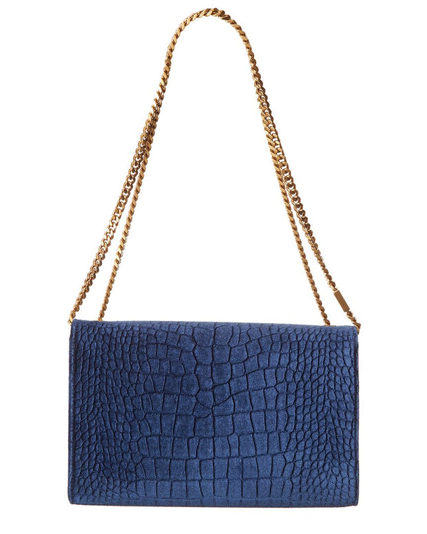 Saint Laurent Croc-Embossed Velvet Shoulder Bag