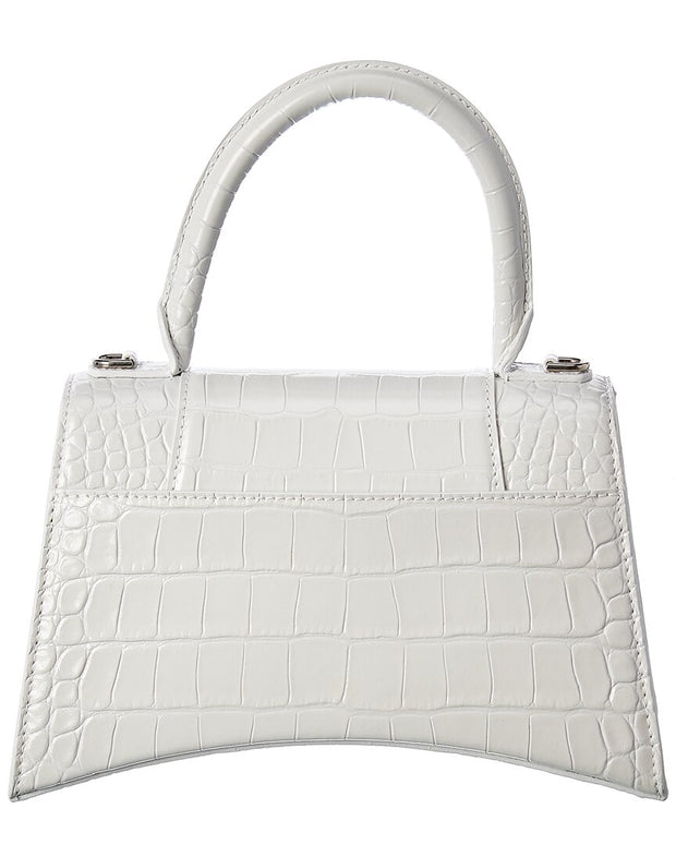 Balenciaga Hourglass Small Croc-Embossed Leather Top Handle Satchel