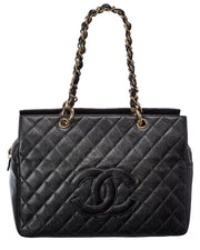 Pre-Owned Chanel Black Quilted Caviar Leather Cc Petit Timeless Tote