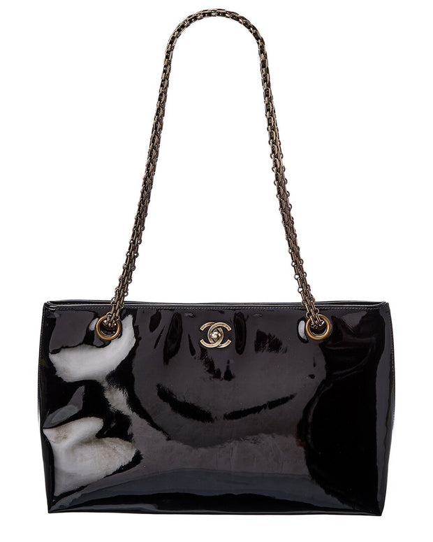 Pre-Owned Chanel Black Patent Leather Cc Chain Tote