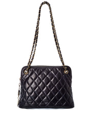 Pre-Owned Chanel Navy Quilted Lambskin Leather Cc Tote