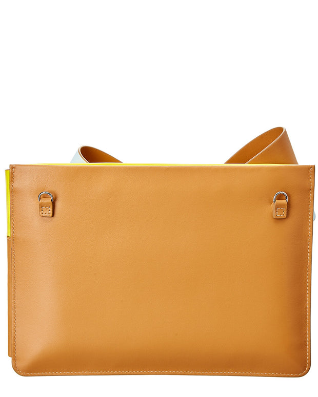 Delpozo Large Bow Leather Clutch Crossbody