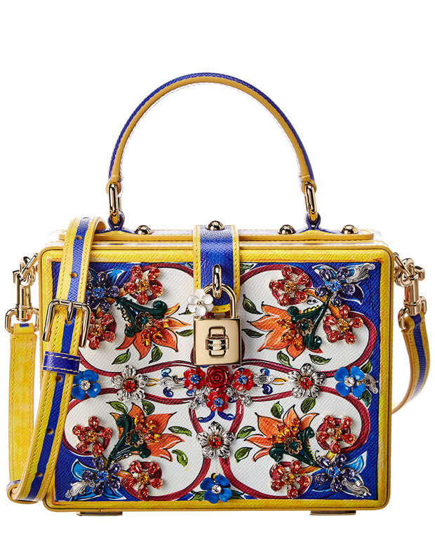Dolce & Gabbana Majolica Leather Top Handle Tote