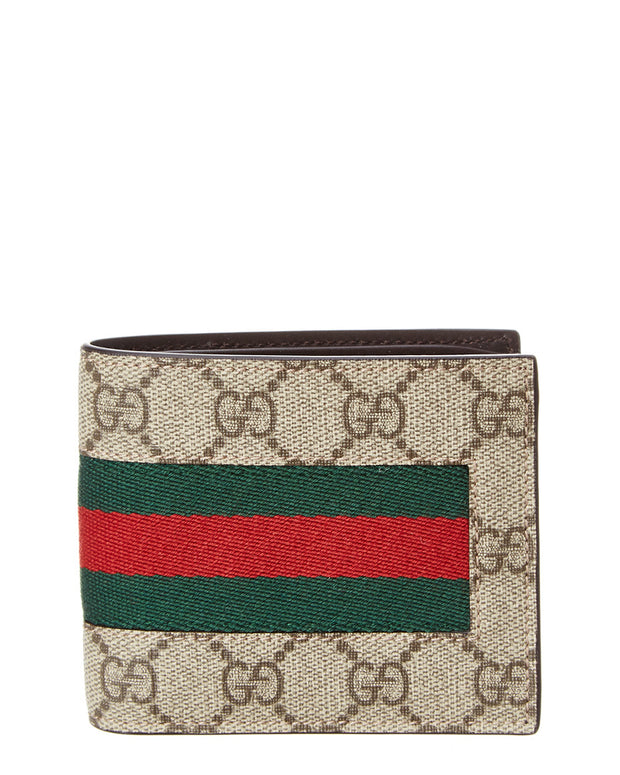 Gucci Web Gg Supreme Canvas Bifold Wallet