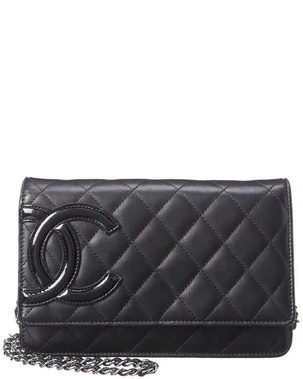 Pre-Owned Chanel Black Lambskin Leather Wallet On Chain