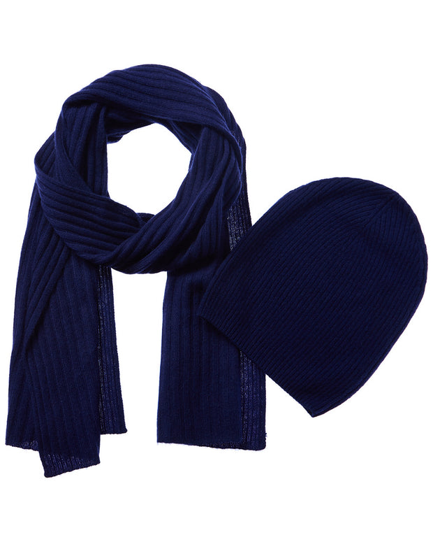 Qi 2Pc Ribbed Cashmere Hat & Scarf Set