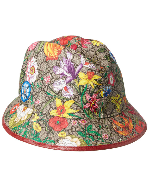 Gucci Gg Supreme Flora Canvas & Red Leather Hat
