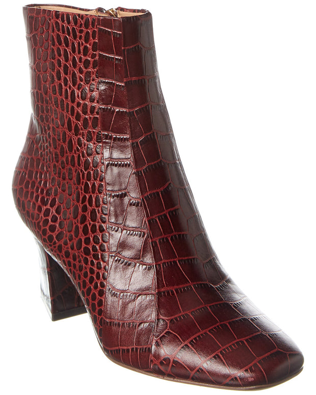 Veronica Beard Felix Croc-Embossed Leather Bootie