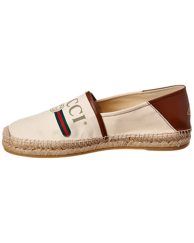 Gucci Logo Canvas & Leather Espadrille