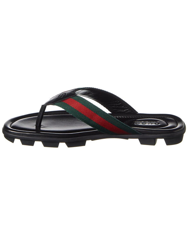 Gucci Web Leather Thong Sandal