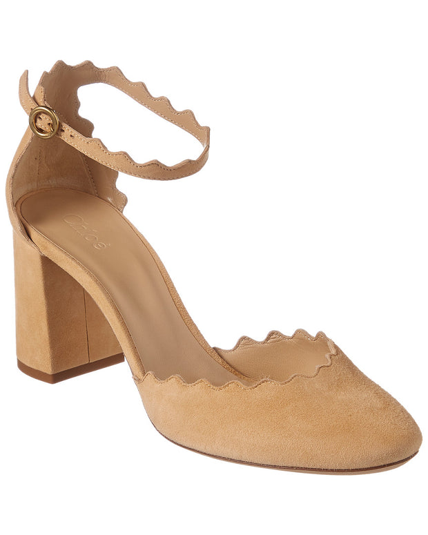 Chloe Lauren Scalloped Suede Ankle-Strap Pump