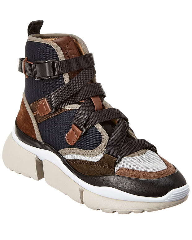 Chloe Sonnie Suede & Mesh High-Top Sneaker