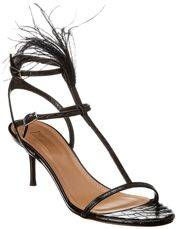 Aquazzura Ponza 60 Croc-Embossed Leather Ankle Strap Sandal