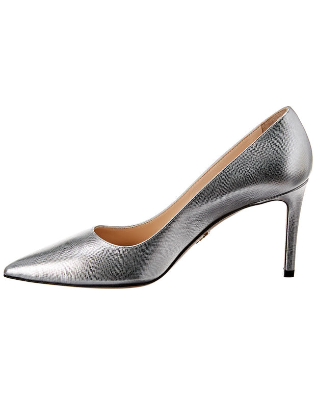 Prada Metallic Saffiano Leather Pointy-Toe Pump