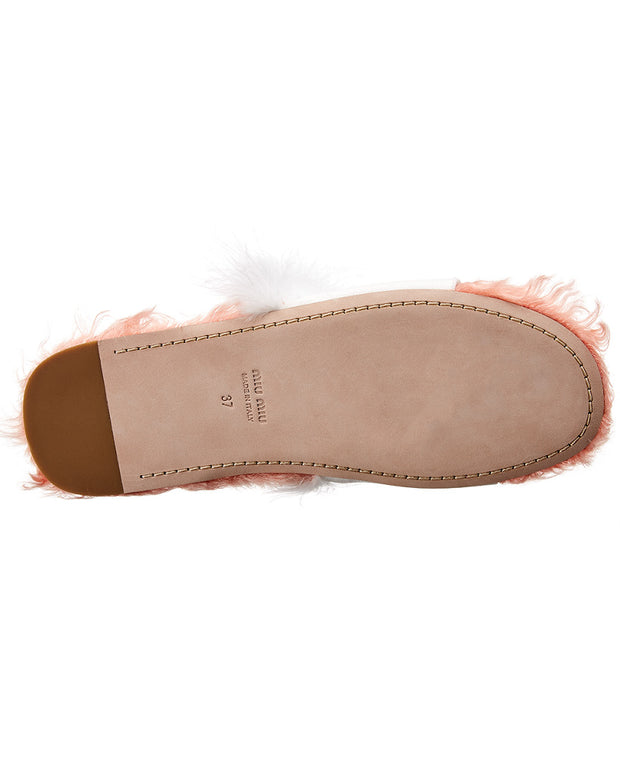 Miu Miu Club Open Canvas & Leather Slipper