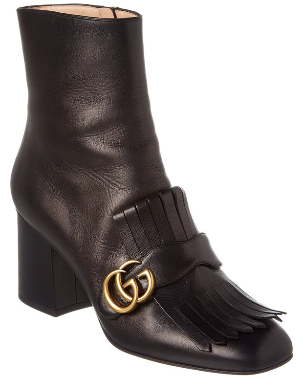 Gucci Gg Fringe Leather Ankle Boot
