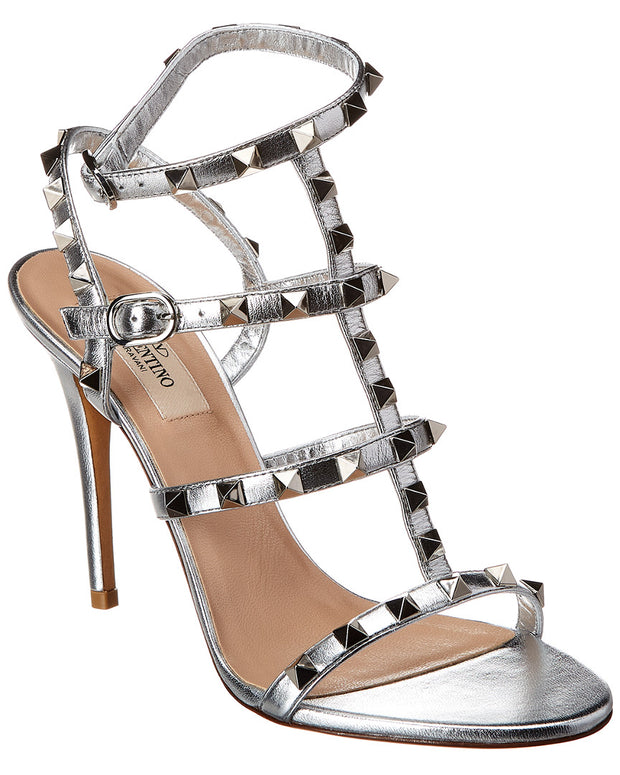 Valentino Rockstud Caged 105 Metallic Leather Ankle Strap Sandal