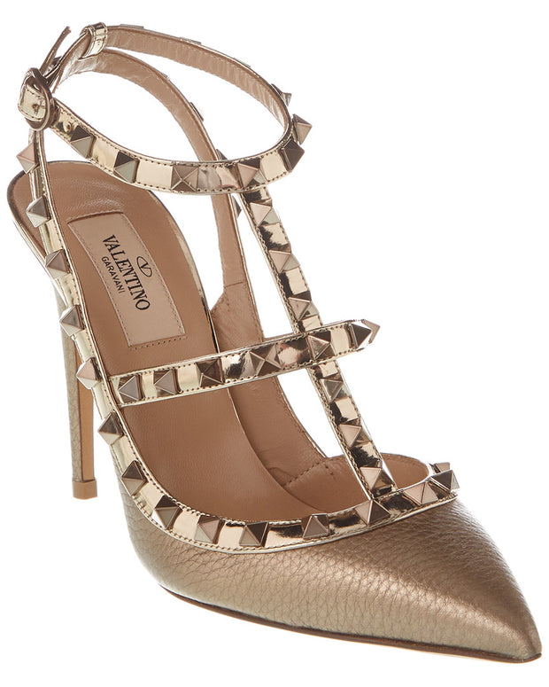 Valentino Rockstud Caged 100 Grainy Leather Ankle Strap Pump