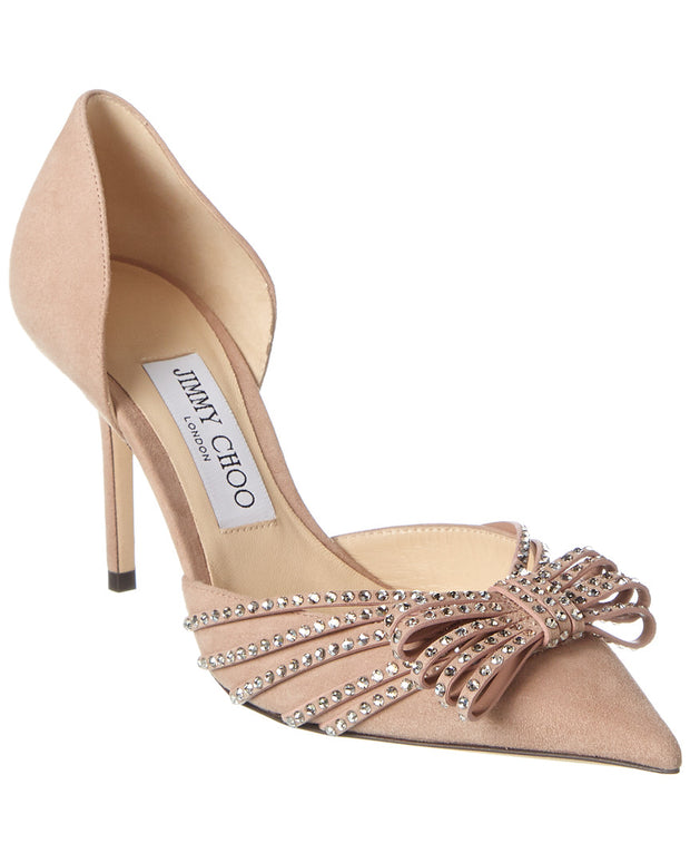 Jimmy Choo Kaitence 85 Crystal-Embellished Suede Pump