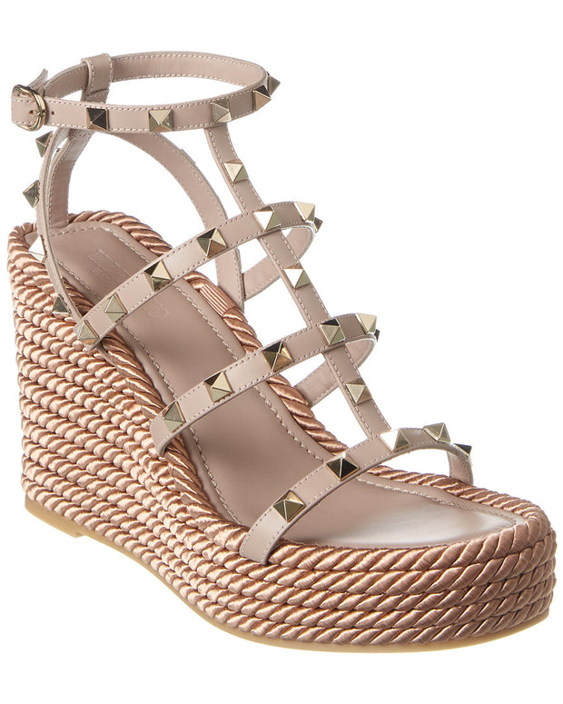 Valentino Rockstud 95 Leather Wedge Sandal