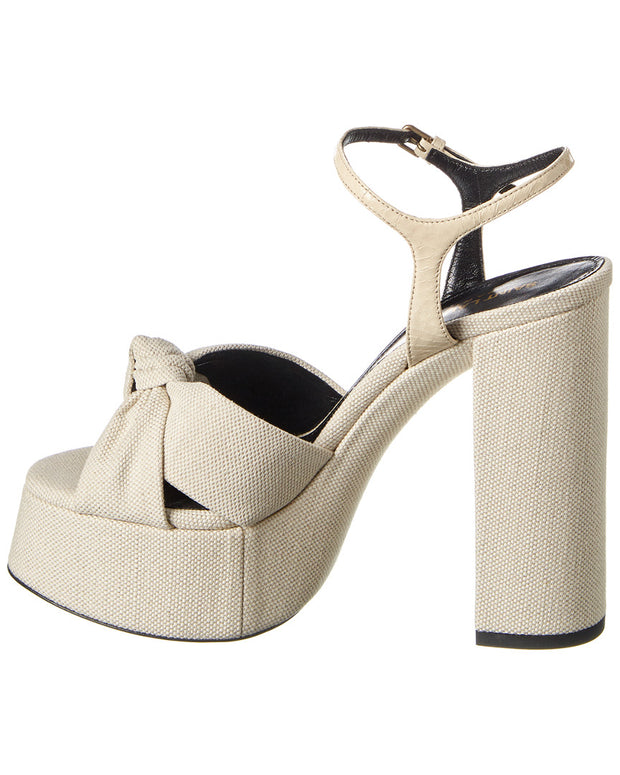 Saint Laurent Bianca 85 Canvas Platform Sandal