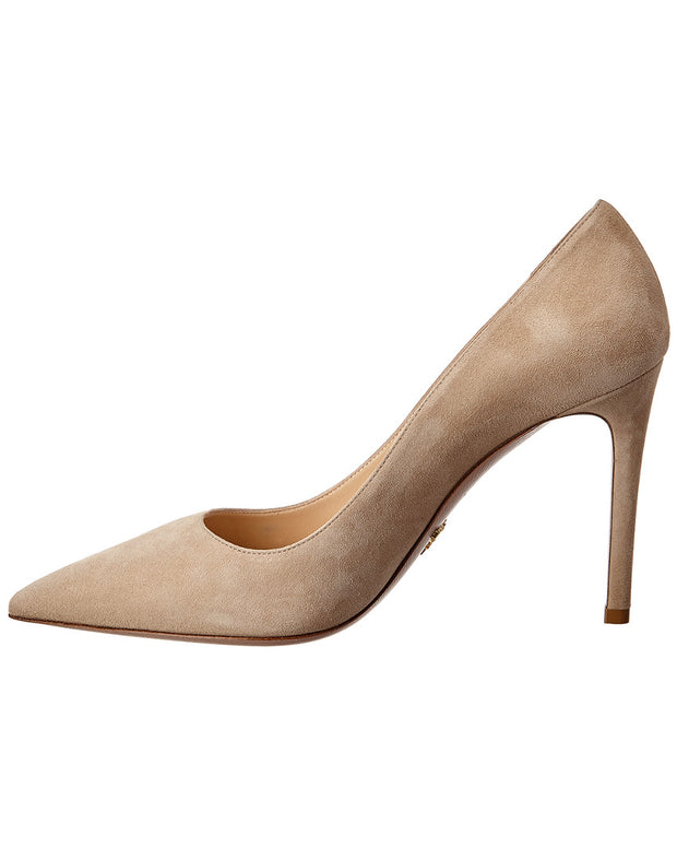 Prada Suede Pointy-Toe Pump