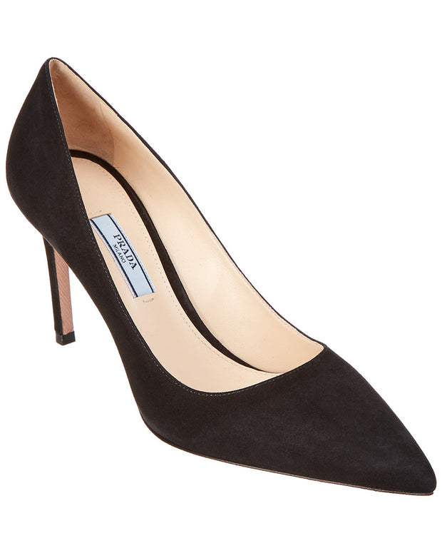 Prada Suede 85Mm Pointy-Toe Pump