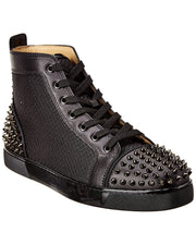 Christian Louboutin Ac Lou Spikes 2 Leather & Mesh Sneaker