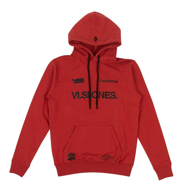 MARCELO BURLON Red Cotton 'VI.SI.ONES.Circle' Hoodie