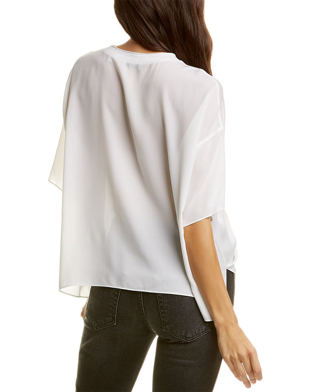 Vince Ribbed Neck Silk Top