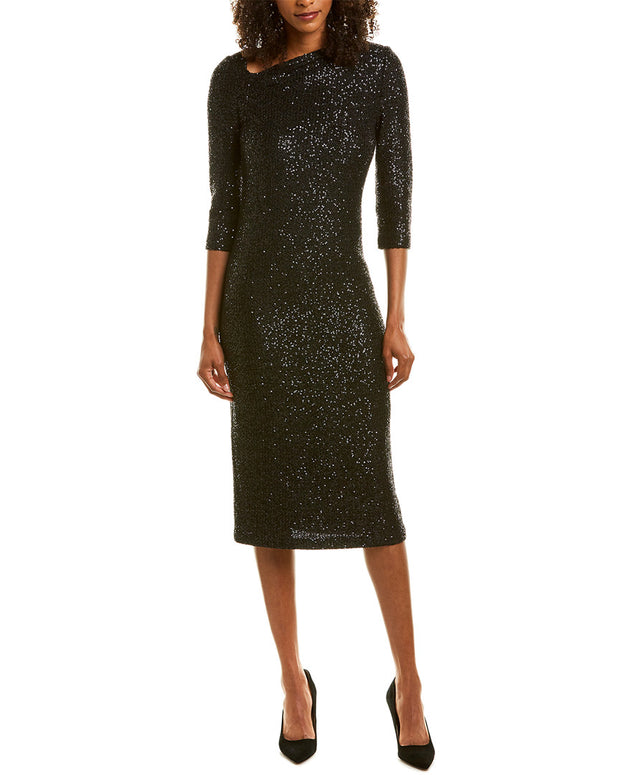 St. John Wool-Blend Midi Dress