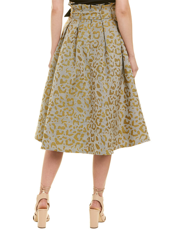 Champagne & Strawberry Jacquard Midi Skirt