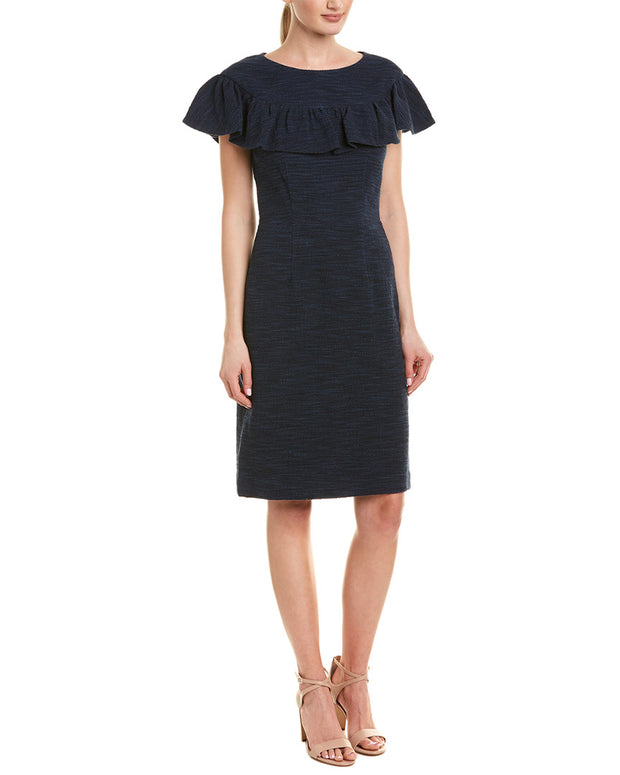 Rebecca Taylor Tweed Ruffle Sheath Dress