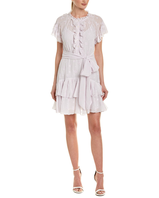 Rebecca Taylor Dree Embroidery Silk-Blend Shift Dress