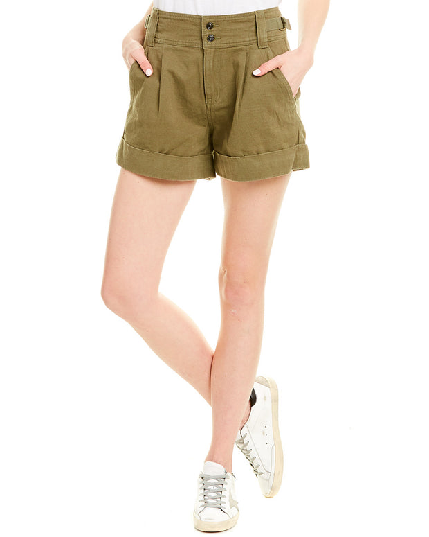 Current/Elliott Olive Green Relaxed Army Linen-Blend Short