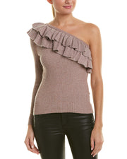 Rebecca Taylor Lurex One-Shoulder Wool-Blend Sweater